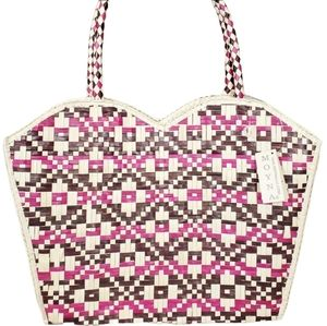 Moyna Woven Straw multi colored tote Bag